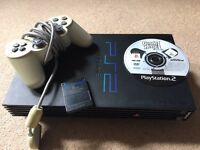 Sony Playstation 2 (fat) console. With 1 controller, 1 x 8MB memory card & Guitar Hero 2 game