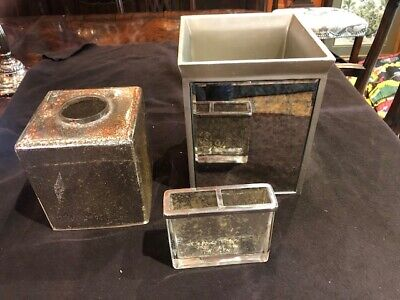 Kassatex Vizcaya 3 pc Bath Accessory Set Elegant Mercury Glass