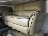 LIGHT BROWN TAN LEATHER WITH DARK BROWN PIPING 3 SEATER