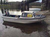 14ft Dejon Cabin fishing boat, trailer and 15hp outboard engine