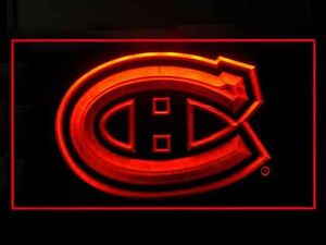cadre led  neon canadiens montreal rouge neuf