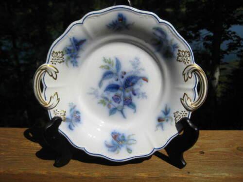 ANTIQUE FLOW BLUE POLYCHROME HANDLED SERVING DISH WITH GILDING C 1841