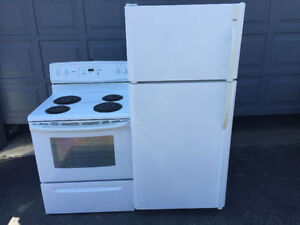 Clean Kenmore White electric coil stove & Fridge Refrigerator