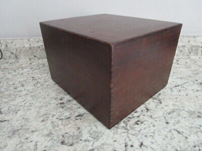 Vintage Wood Card File 4x6 Cards By Merchants Box Co.1972 Dark Stain Dovetailed