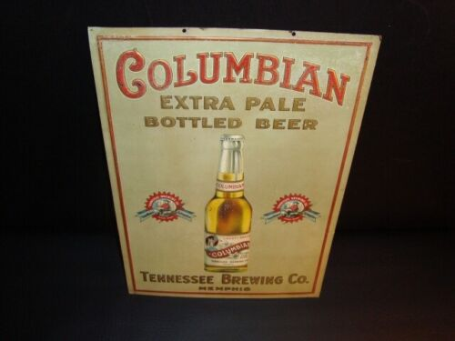 Circa 1910 Columbian Beer Embossed Tin Sign, Tennessee Brewing Company, Memphis