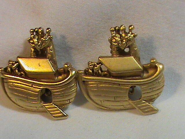 Vintage Noah's Ark Flat Gold  Tone Clip on Earrings signed A.J.C.