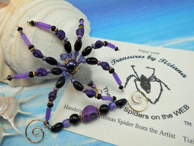TreasuresbyTiziana® Halloween Beaded Scary Fuzzy Purple Tarantula Pet Spider