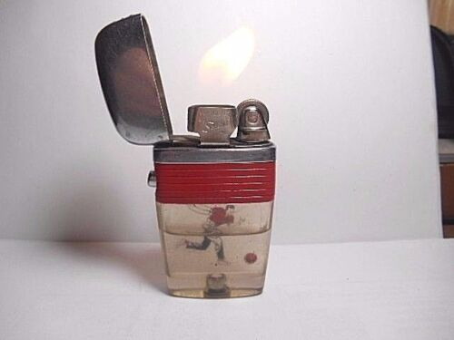 VINTAGE RARE SCRIPTO VU CIGARETTE LIGHTER RED BAND WITH FLOATING BOWLING MAN