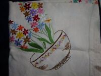 EMBROIDERED TABLE COVERS, LINEN & COTTON, 6 in total, Varying sizes