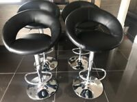 FOR SALE - 4 x Breakfasting Kitchen stools / Bar stools in black faux leather