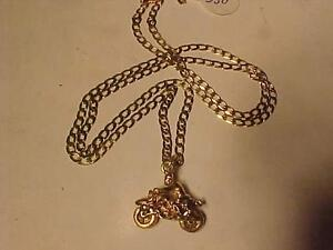 "#3191-23"" LONG 10K YELLOW GOLD CHAIN WITH 3 D MOTORCYCLE PENDANT-SELL $350.00  WILL SHIP EMAIL BANK TRANS"