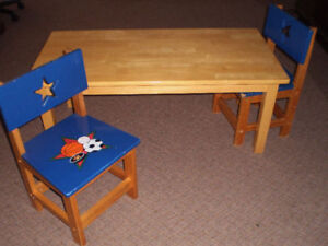 children's set wooden table & two chairs Excellent condition
