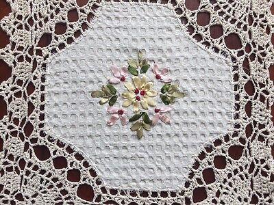 """6 PCS 12"""" Square Crochet Lace Doily COLOR Beige   100 % COTTON"""