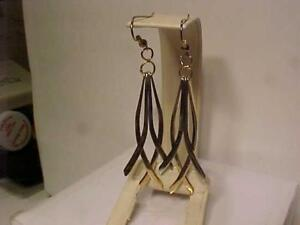 """1505-HAND MADE (OUT OF ESTATE GOLD) 10K W/Y/Gold 1 of a kind pair!Sheherd hook Earrings-Free Shipping in Canada-3"""" long"""