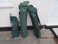 Camp bed and 2 x folding camping loungers