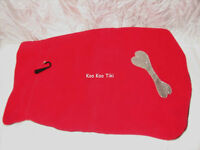 BRAND NEW Dog Coat: Red Fleece w/ choice of Silver or Gold Bone