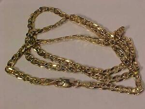 "#930-10K YELLOW GOLD CONCAVE MARINE LINK CHAIN 20""-LOBSTER CLAW CLOSURE-HALLMARKED- ACCEPT EMAIL BANK TRANSFER -FREE S/H"