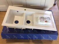 New Villeroy & Boch Subway 60 1 ½ bowl white ceramic kitchen sink.