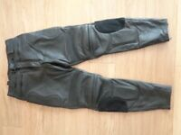 "Duke motorcycle motorbike black leather trousers pants size 32"" waist"