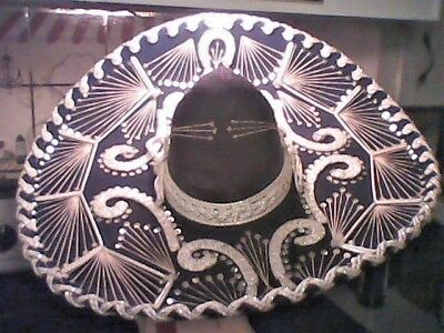 Authentic Black and white Calidad Extra XXXXX Mexican Sombrero Mariachi Hat](Black And White Sombrero)
