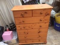 "Childrens Pine Wardrobe & Chest Of Drawers good condition. Wardrobe hgt is 54"" X 34""."