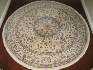 """8' Round """"Nain"""" Hand Knotted Wool Persian Carpet from Iran"""