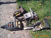 4 old scrap petrol chainsaws, not working, suitable for spare parts, £10 for the lot, Pontardawe.