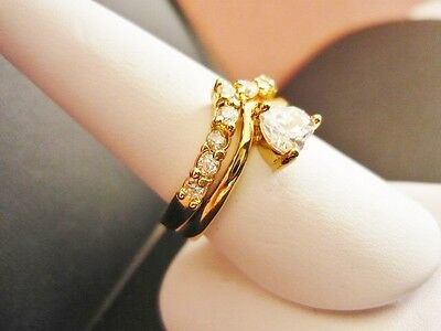 Size 8 Yellow Gold Plated Cubic Zirconia Engagement & Wedding Ring Set on Rummage