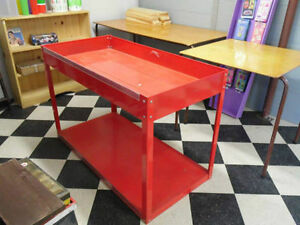 RED METAL TABLE TYPE BIN 2 AVAILABLE STURDY