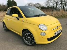2008 (08) Fiat 500 1.4 Sport in Tropicalia yellow full black leather & electric glass sunroof