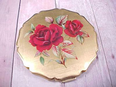 Vintage STRATTON of LONDON Powder COMPACT Gold Tone with Roses on Cover