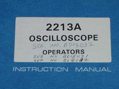Tektronix Operators Instruction Manual For 2213a Oscilloscope