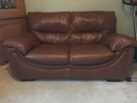 sofa brown leather 2 seater