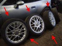 """Audi TT 18"""" BBS Split rim V6 set of 4 alloy wheels tyres RS2 rim V6 A3 GENUINE"""