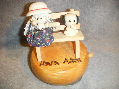 """ROTATING  WOOD MUSIC BOX GIRL, DOG ON BENCH """"YOU LIGHT UP MY LIFE"""" OFF/ON SWITCH"""