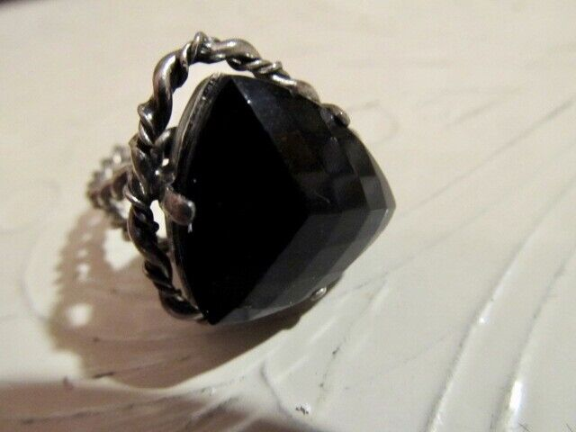 Vintage Triangular Black Glass Center Stone ~ Braided Shank Adjustable~W.Germany