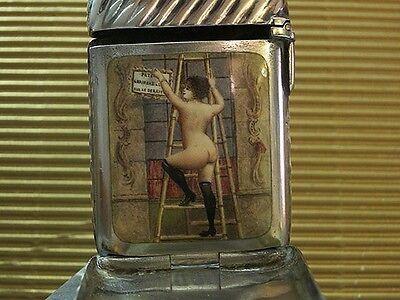 TERRIFIC Hidden Photo Compartment Enamel silver Match safe antique vesta case