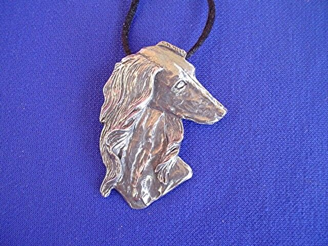 Saluki necklace HEAD STUDY #15J Pewter Sighthound Dog Jewelry by Cindy A. Conter