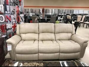 CREAM GENUINE LEATHER RECLINER COUCH ON SALE (ND 107)