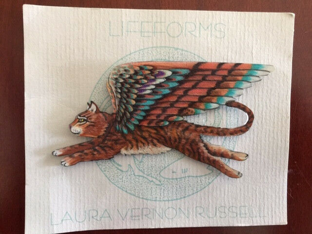 Handpainted Flying Winged Cat or Kitty Angel Pin (possible Toyger)