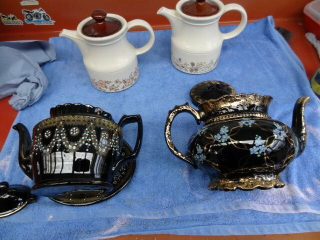 PAIR OF HAND PAINTED VICTORIAN TEAPOTS