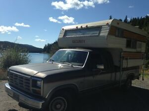 1986 Ford F-150 Super Cab Pickup Truck with Camper (Low Mileage)