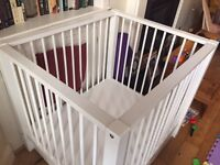 White wooden baby play pen playpen by Bopita (2 levels) with storage drawer