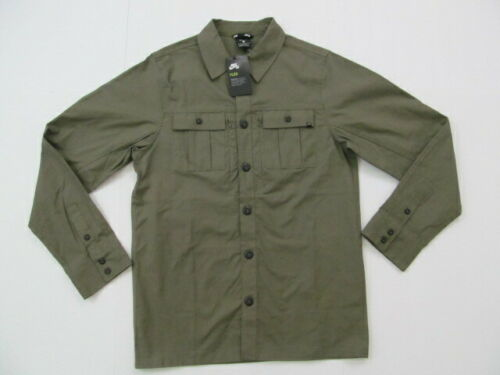 Nike SB Flex Stretch Medium Durable Button Front Olive Comfort Fit Shirt Jacket