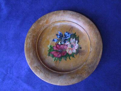 sehr alter Holz-Teller antik, mit Blumen-Malerei, Obstteller aus Buchenholz