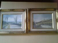 2 small original signed canvas oil paintings depicting Antrim Coastal Road and Scrabo Tower