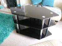 Black tempered glass TV stand. 3 tier, Maximum dimensions 90cm width x 60cm depth x 53cm height