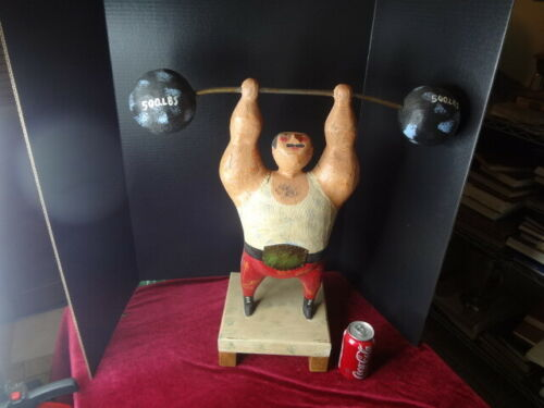 """24 inch RARE """"CURTIS JERE"""" WOOD SCULPTURE of a WEIGHTLIFTER"""