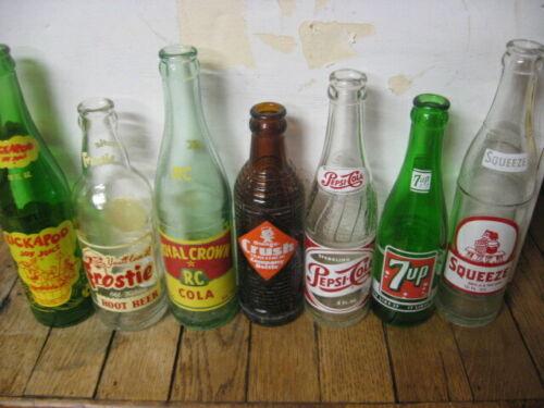 Seven Common ACL Soda Bottles - Kitchen Decor- vintage
