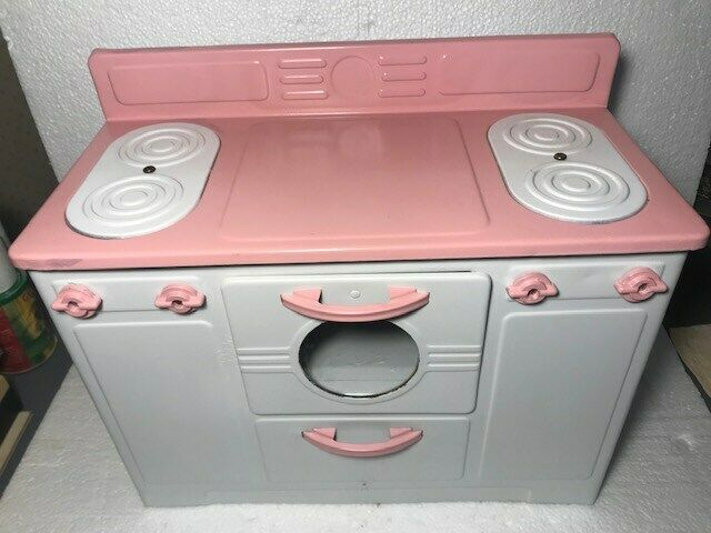 LARGE 1940sEMPIRE NO.240 CHILDS ELECTRIC STOVE PINK & WHITE WORKING RESTORED !